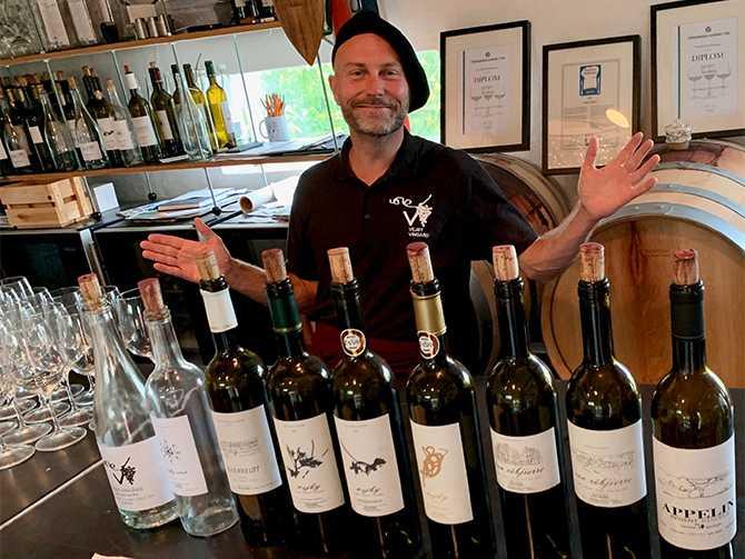 GÅR MOT STRÖMMEN Jeppe Appelin på Vejby vingård i Vejbystrand går emot den vita trenden i Sverige och gör enbart röda viner.