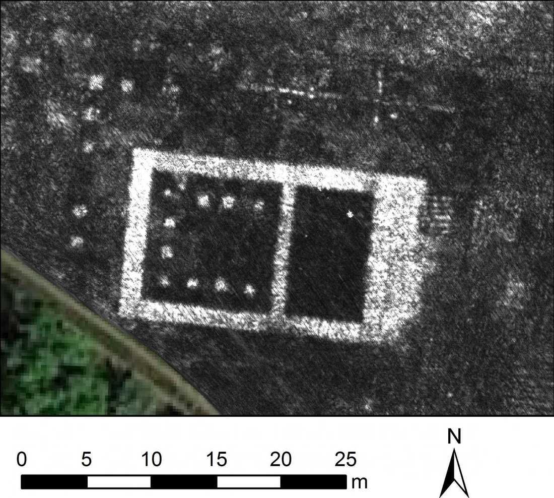 Radarbild som visar Falerii Novis tempel.