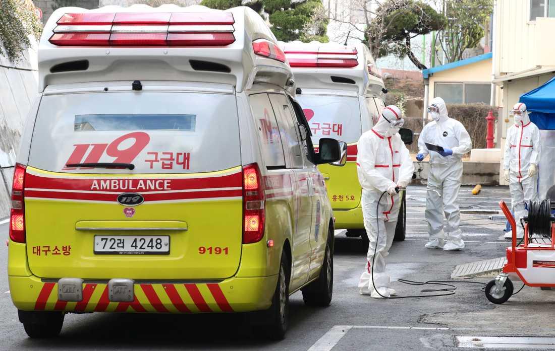 Personal i skyddskläder vid ett sjukhus i Daegu, Sydkorea.
