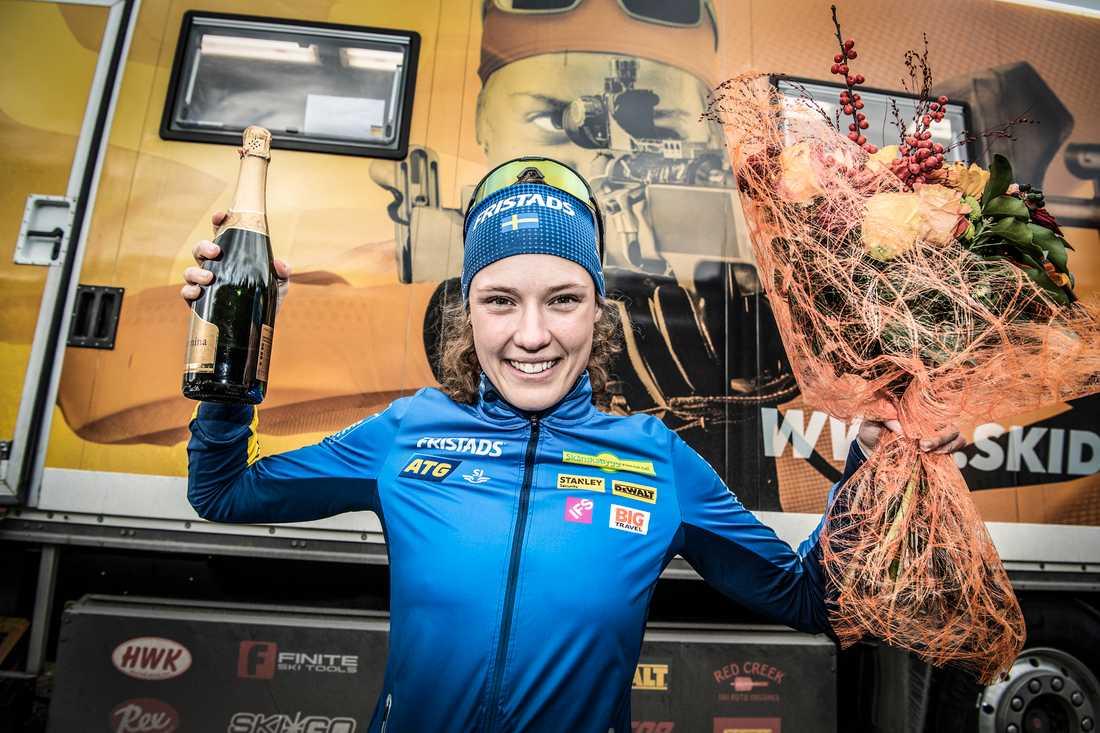 Hanna Öberg vann guld och silver på OS i Pyeongchang. Nu har hon också fått Bragdguldet. Arkivbild.
