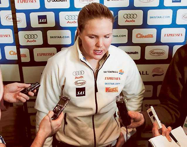 Missnöjd Anja Pärson är inte nöjd med träningsmöjligheterna inför dagens super-G.
