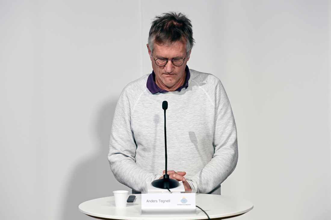 Anders Tegnell under dagens pressträff.