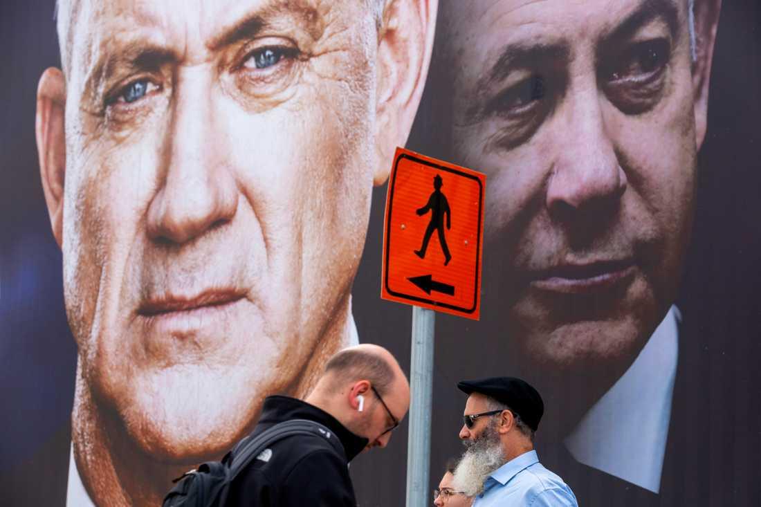 Strid på kniven. Korruptionsåtalade premiärministern Benjamin Netanyahu och hans rival Benny Gantz (till vänster i bild) möts igen.