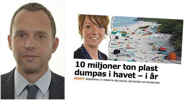 """Jens Holm (V) replikerar på Matilda Ernkrans och menar att det inte räcker med konsumentinformation för att minska användningen av plast: """"Vi vill se en skatt på plastbärkassar för att minska användandet. Intäkterna skulle kunna gå till förbättrat miljöarbete mot plast"""", skriver han."""