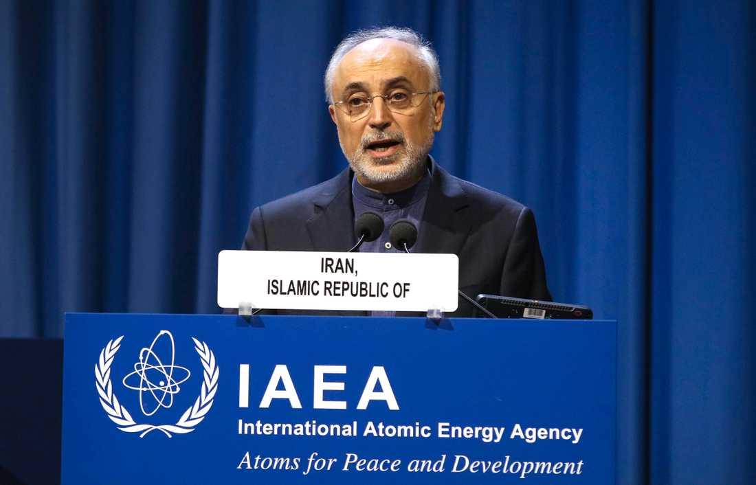 Irans kärnenergichef Ali Akbar Saleh under ett tal vid det Internationella atomenergiorganet IAEA:s årliga medlemsmöte i Wien i september. Arkivbild.