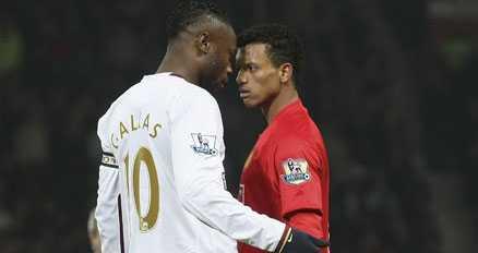 Arsenals William Gallas hade ett och annat att säga Manchester Uniteds Nani.