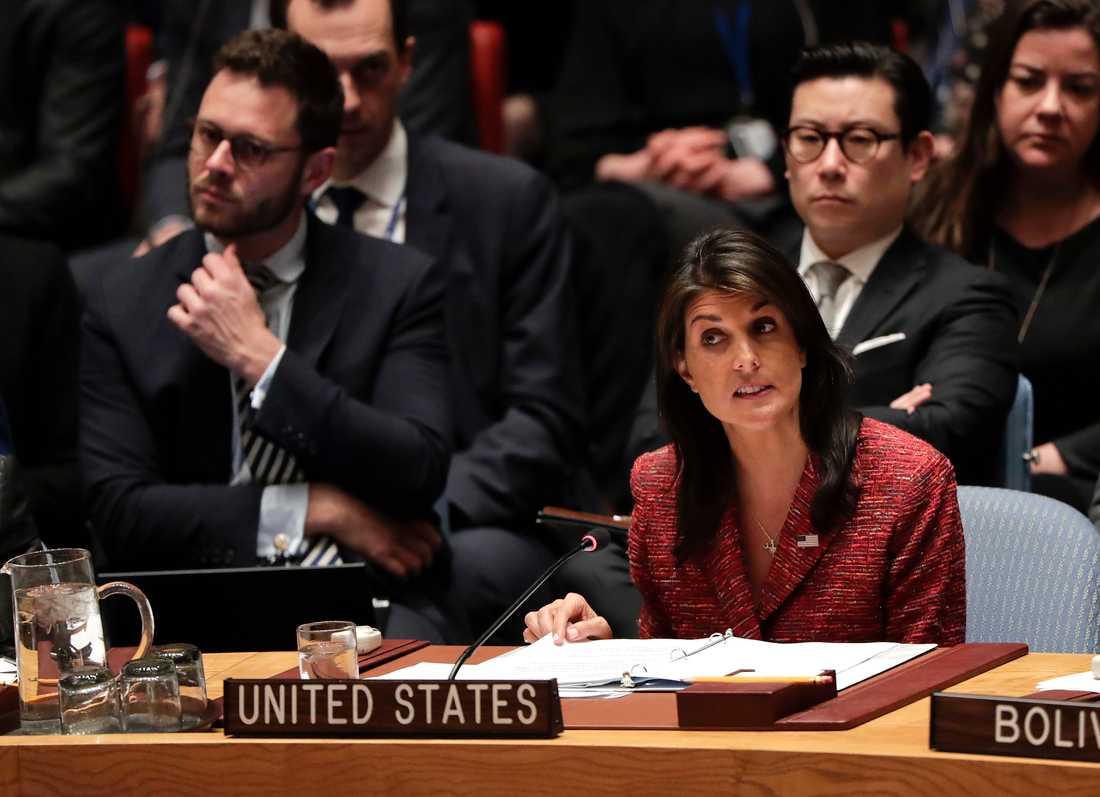 USA:s FN-ambassadör Nikki Haley.