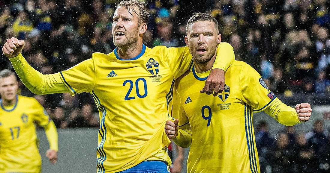 HET DUO. Ola Toivonen och Marcus Berg visade vägen när Sverige slog Luxemburg med 8–0 på Friends Arena i lördags. I morgon väntar ett deprimerat Holland.