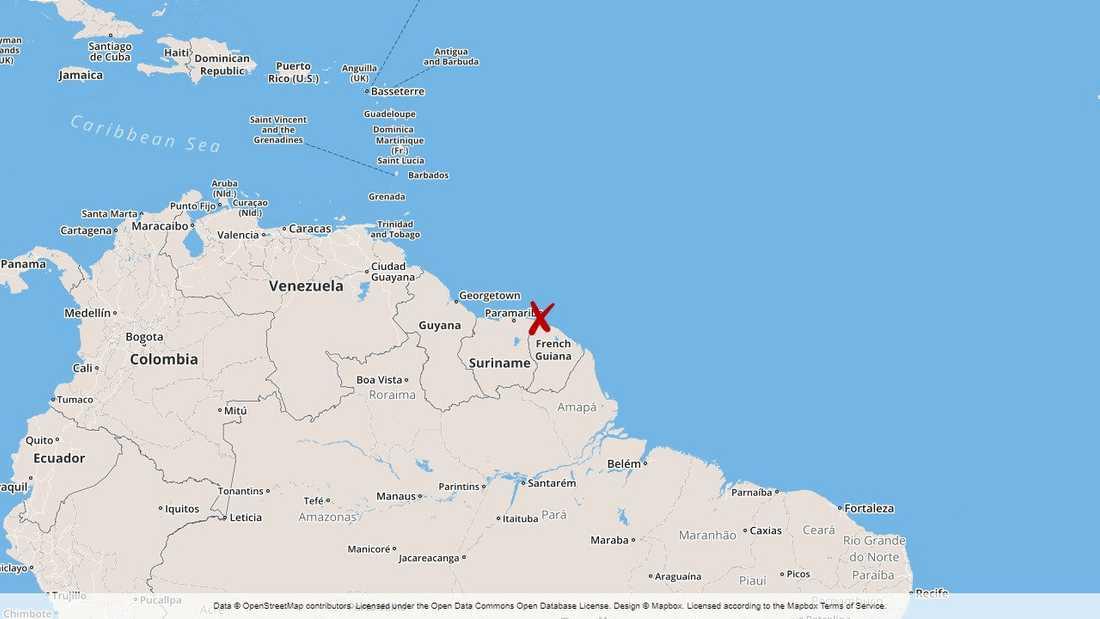 Kokain hittades på ett fartyg i Franska Guyana.