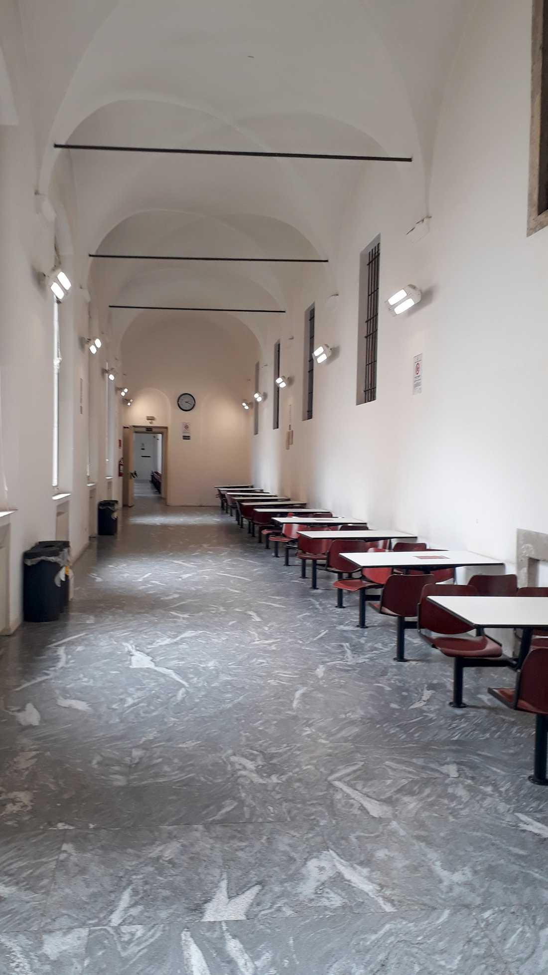 I korridorerna på universitetet i Milano är det vanligtvis fullt med studenter. Men sedan virusutbrottet är universitetet stängt för studenter.