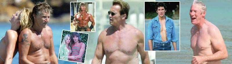 Då - och nu Rod Stewart, Arnold Schwarzenegger och Richard Gere.