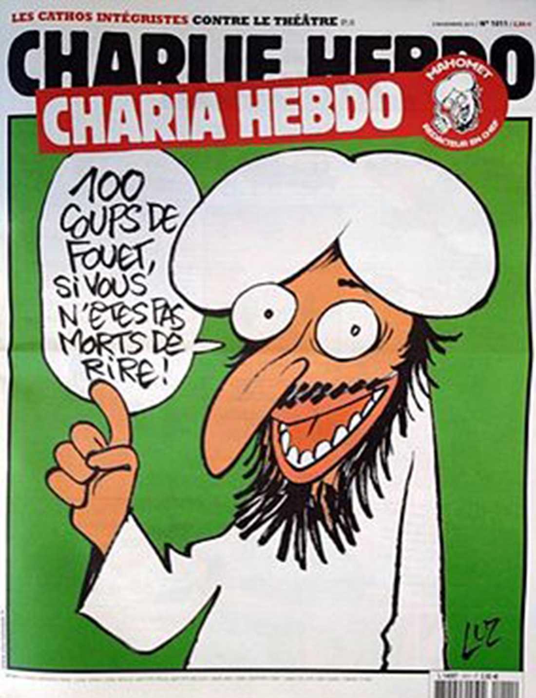"""NÅGRA AV CHARLIE HEBDOS FÖRSTASIDOR """"Hundra piskrapp om ni inte dör av skratt."""""""