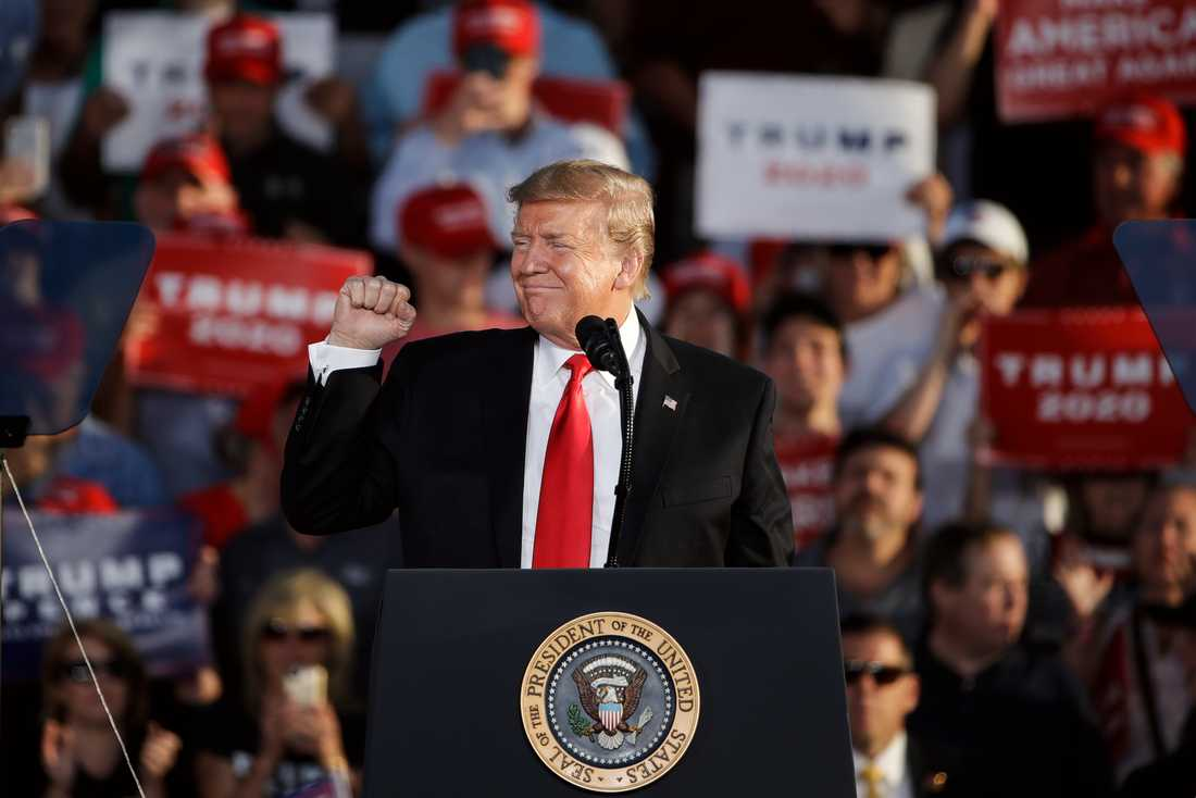 USA:s president Donald Trump talar i Montoursville i Pennsylvania i maj.
