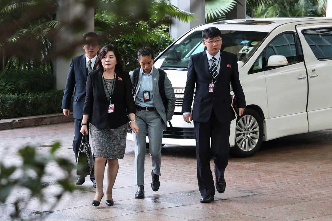 Nordkoreas vice utrikesminister Choe Son-Hui vid mötet i Singapore mellan Donald Trump och Kim Jong-Un.