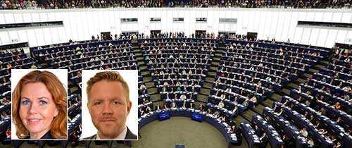 Cecilia Wikström (FP) och Fredrick Federley (C) är två av de sju liberala EU-parlamentariker som vill se Dublin-förordningen skrotad.