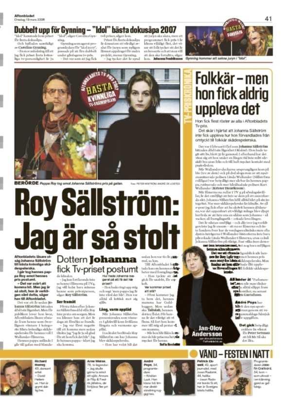 I veckan prisades Johanna Sällström postumt för Wallanderfilmerna.