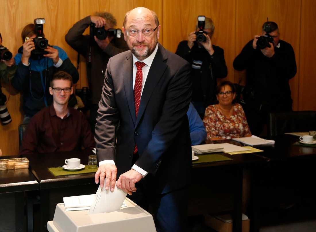 Här röstar Martin Schulz.