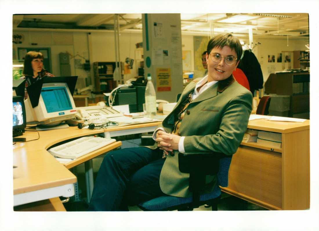 Charlotte Bouvin-Sundberg, på dåvarande Rapport-redaktionen i SVT-huset 1994