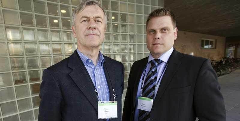 Kommunalråden Göran Nilsson från Knivsta och Urban Widmark från Hässleholm på Moderaternas kongress i Örebro.