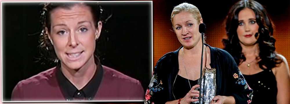 Lotta Schelin tackade i en videohälsning, Victora Svensson tog emot priset.