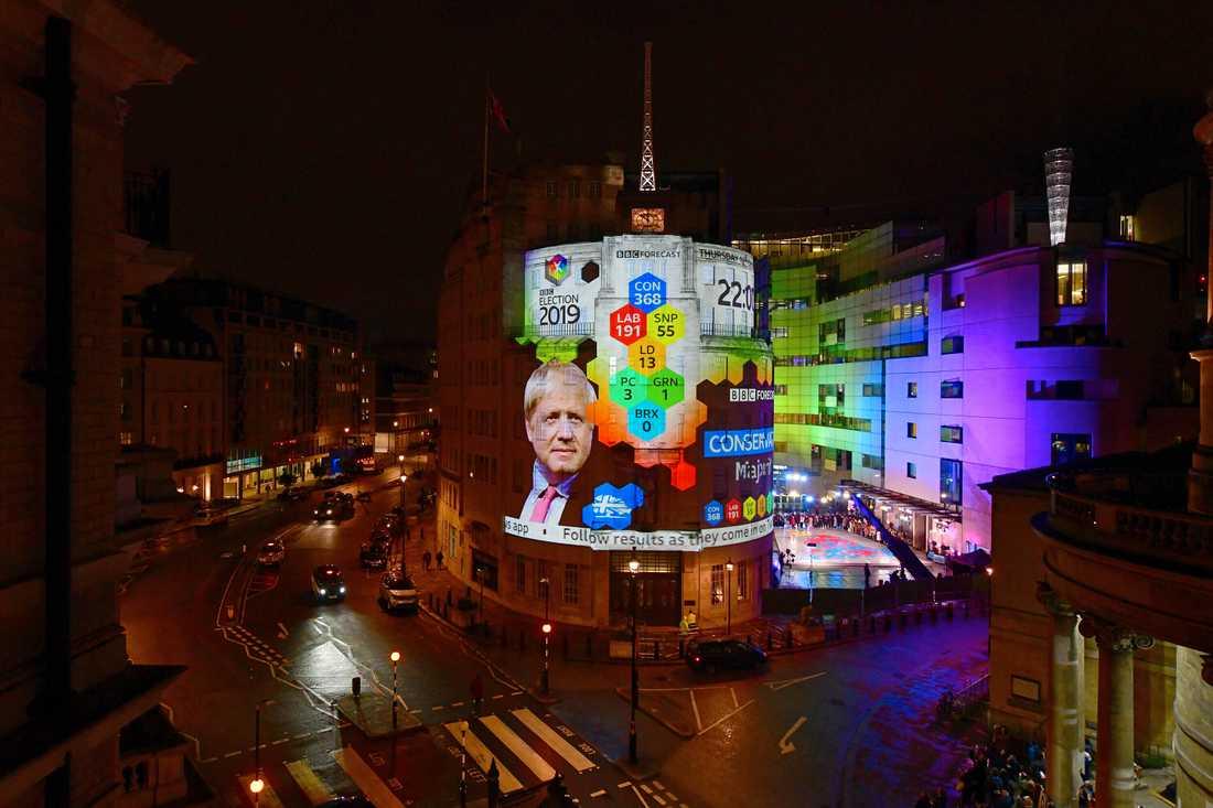 Vallokalsundersökningen visas upp med projektor på fasaden på BBC:s högkvarter i London.