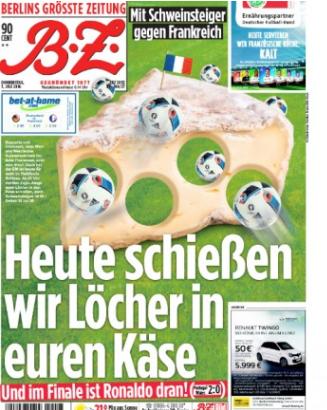 """Den tyska tidningen BZ har rubriken: """"I dag skjuter vi hål i er ost""""."""
