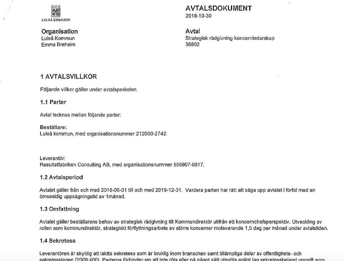 Delar av avtalet mellan Luleå kommun och Resultatfabriken Consulting AB i Uddevalla.