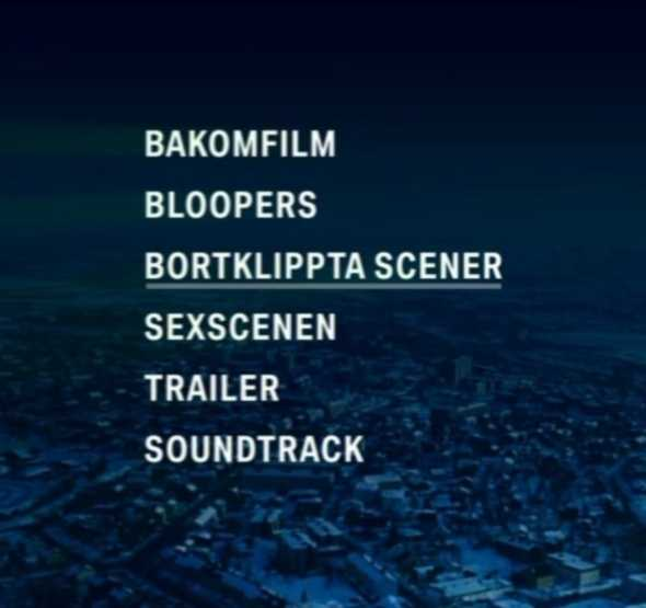 Sexscenen har en egen rubrik på dvd:n.
