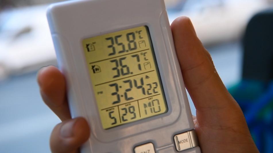 36,7 grader visar termometern i en av bussarna.