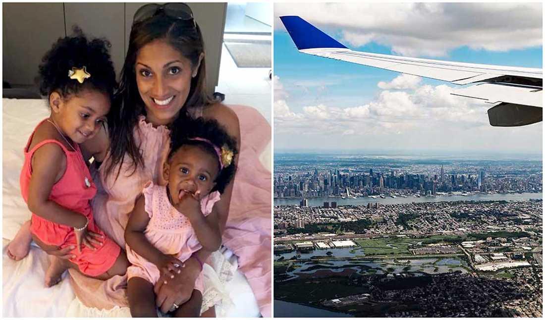 Maya Jacobsson och hennes döttrar är vana flygresenärer.