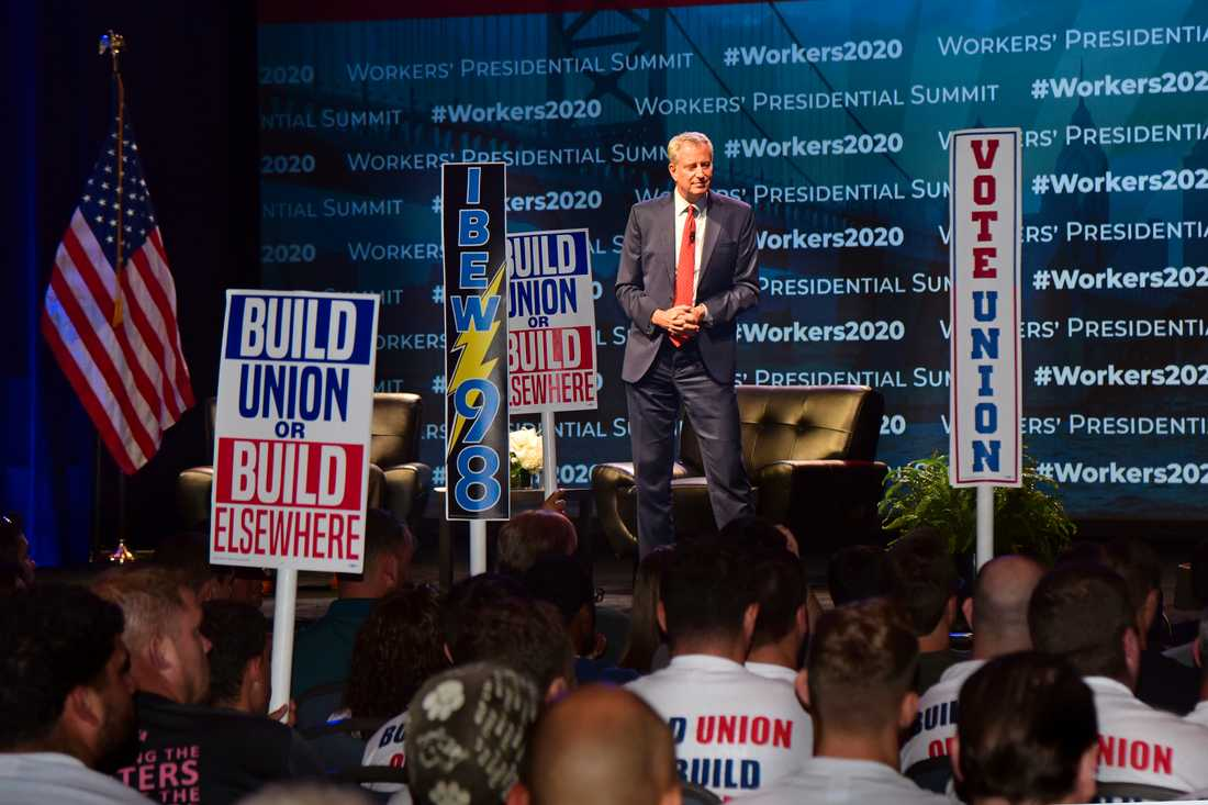 Demokraten Bill de Blasio ger upp slaget om presidentposten. Arkivbild.