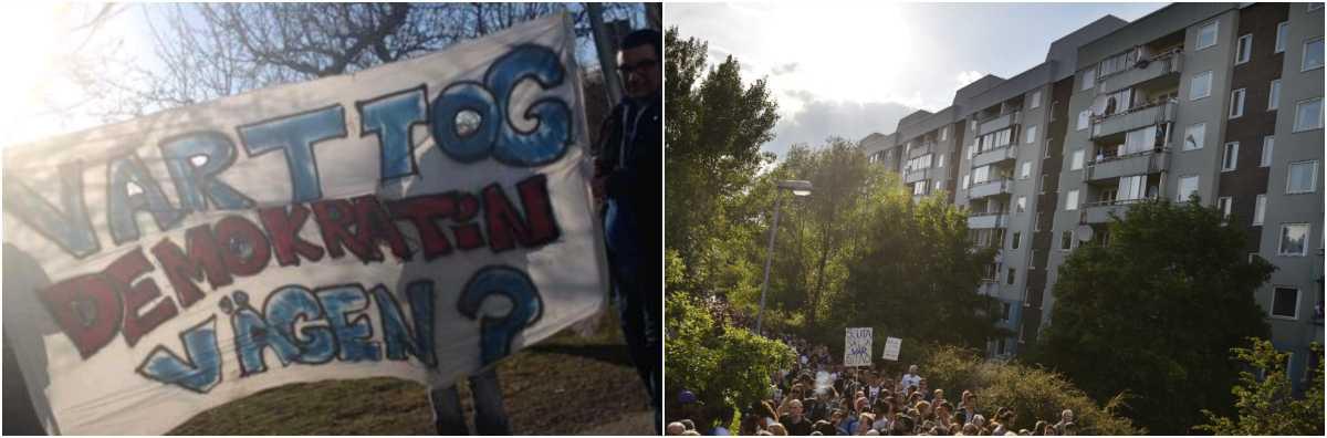 De unga i Alby vill att politikerna lyssnar, och kräver en ny fritidsgård. Till höger protester 2013 mot utförsäljningar i området.