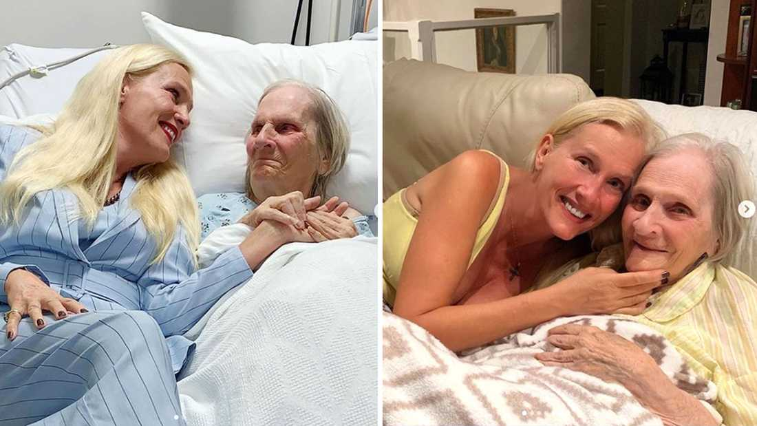 Hollywoodfrun Gunilla Persson lägger ofta upp bilder på sig själv och mamma Iris på Instagram.