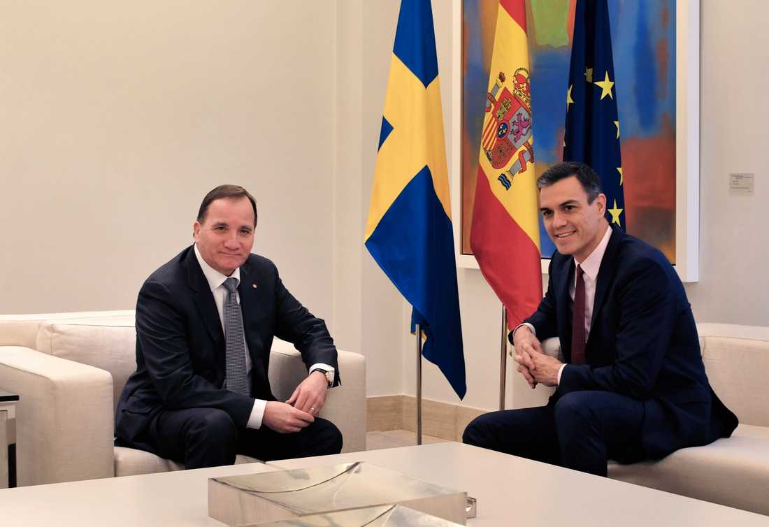 Statsminister Stefan Löfven (S) tar emot sin spanske kollega, premiärminister Pedro Sanchez, den 14 och 15 juli på Harpsund. De har tidigare bland annat mötts i samband med en S-kongress i Madrid förra året. Arkivbild.