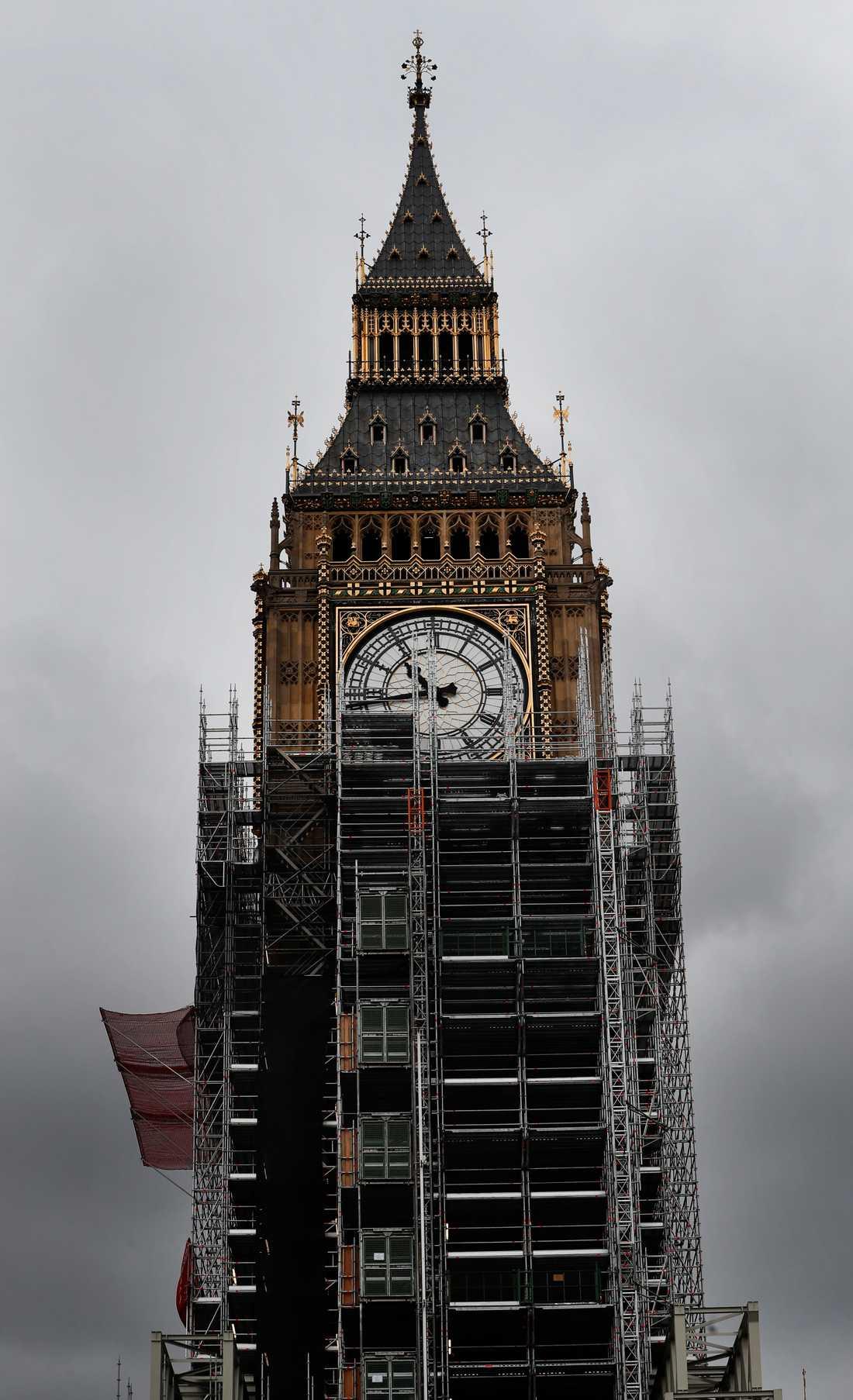 Byggnadsställningar omringar Big Ben sedan 2017. Arkivbild.