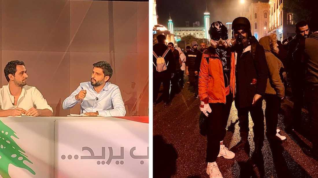 För den libanesiske juristen Hussein El Achi är aktivismen ett andra jobb. Här syns han kommentera protesterna i Libanon i nationell tv samt tillsammans med sin flickvän redo för demonstration.