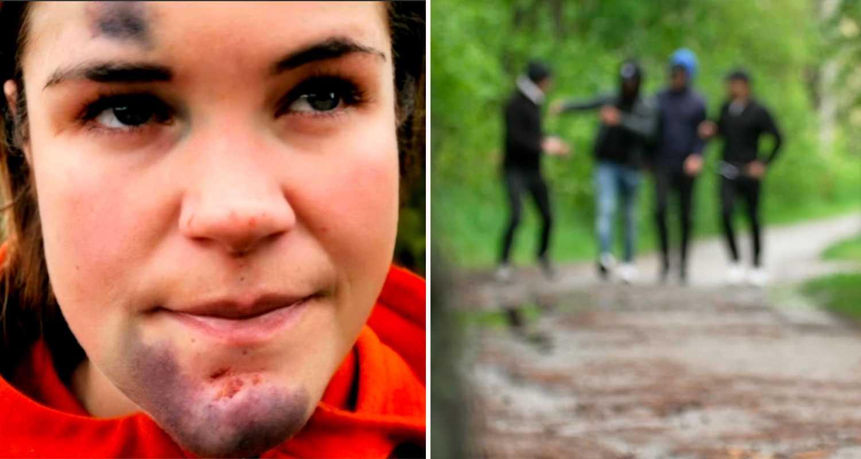 Amanda promenerade hunden – misshandlades av gäng