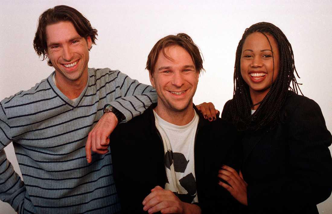 1996. Här är hon med Pontus Gårdinger och Anders Lundin inför programmet Sovjet i SVT.