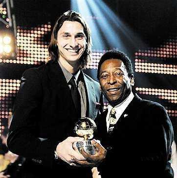 Zlatan och Pelé i stjärnmöte på Fotbollsgalan 2008. Foto: LASSE ALLARD