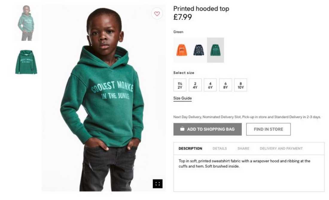 Produktbilden för tröjan har fått massiv kritik.