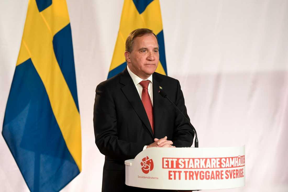 Stefan Löfven höll sitt digitala tal från Socialdemokraternas högkvarter på Sveavägen 68 i Stockholm.