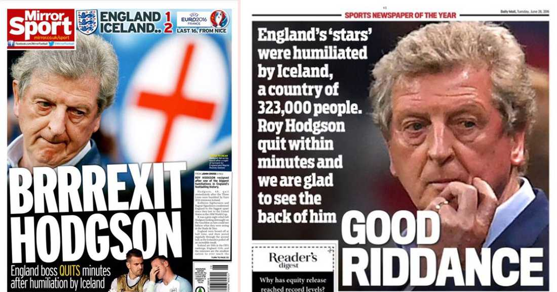Mirrors Sportsida och Daily Mails baksida