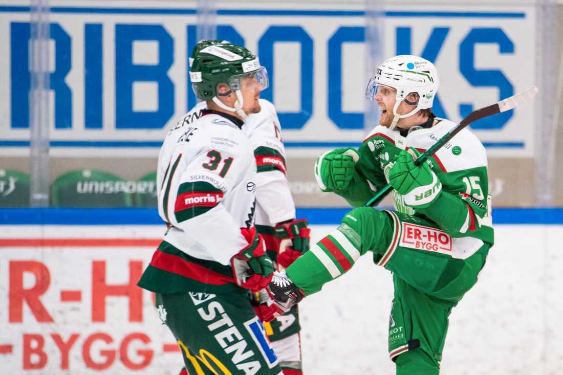 Simon Ryfors jublar efter 2–0 mot Frölunda.