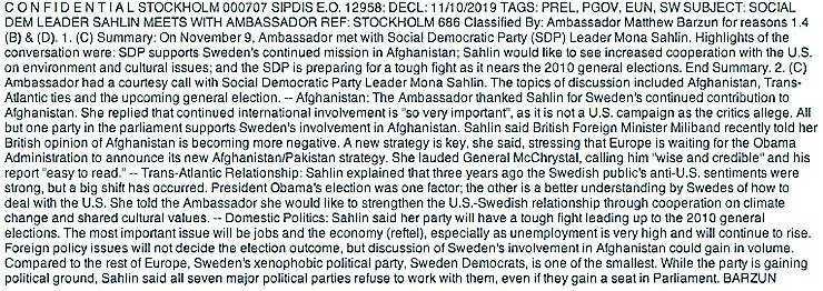 Rapporten från mötet med Mona Sahlin i november 2009.