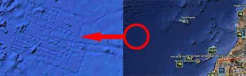 Satellitbilder På bilden syns en rektangel på Atlantens botten. Det är den nya tjänsten Google Ocean som byger på satellitbilder och marina undersökningar som har tagit fram bilden.