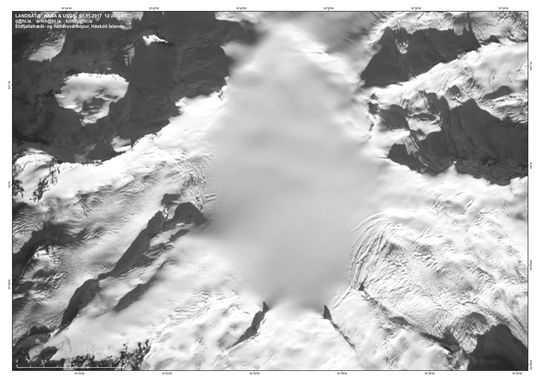 Satellitbild över Öraefajökull tagen den 1 november.