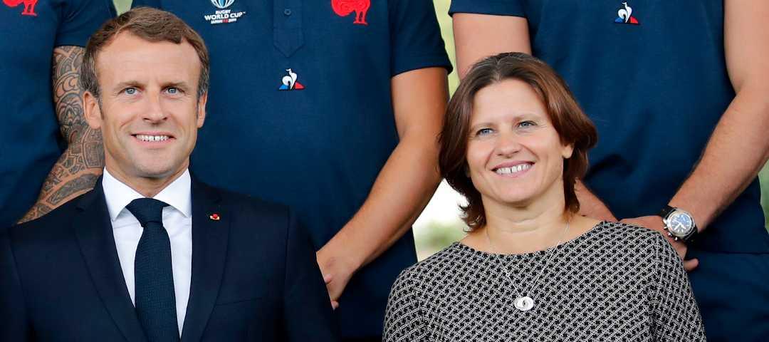 Frankrikes president Emmanuel Macron och idrottsministern Roxana Maracineanu.