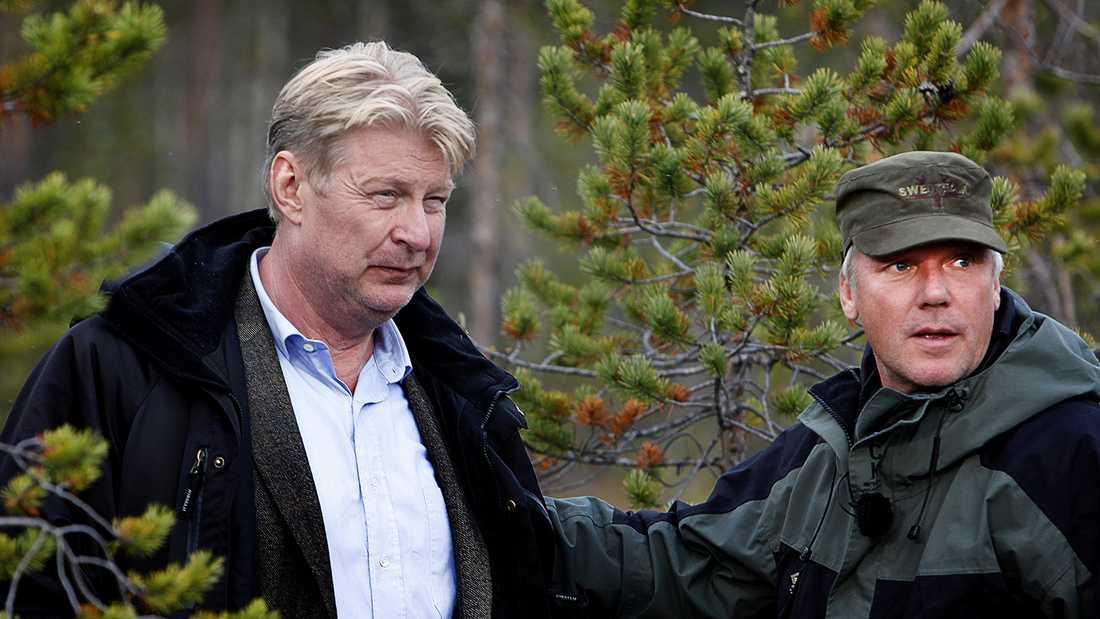"""Rolf Lassgård och Kjell Sundvall under inspelningen av """"Jägarna 2""""."""