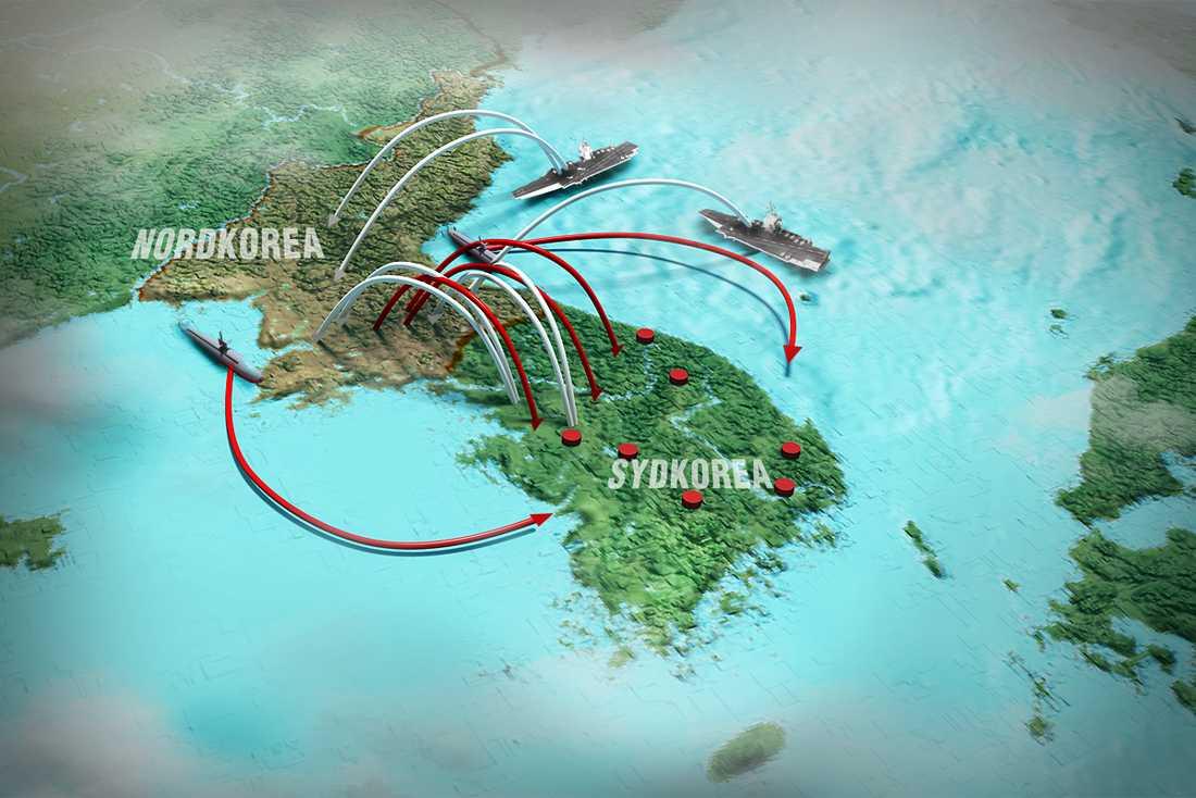 RÖTT=Nordkoreanska attacker VITT=Amerikanska attacker