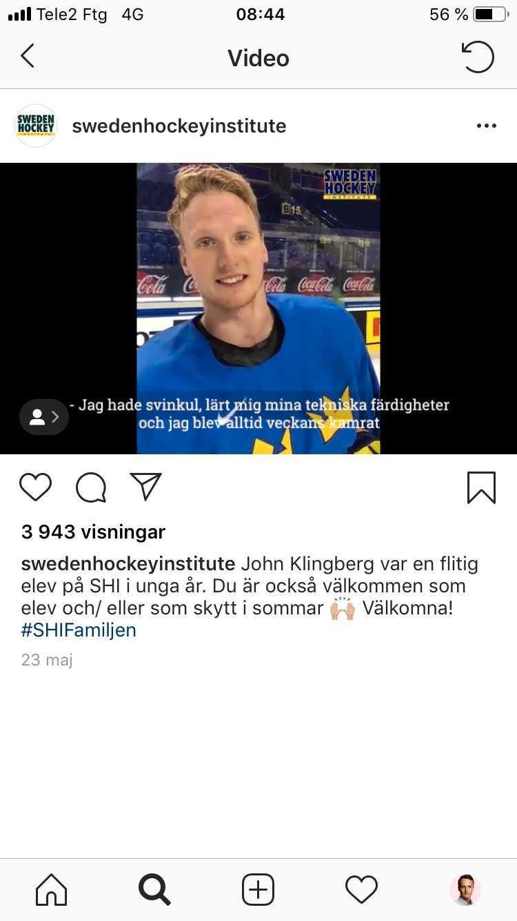 John Klingberg gjorde reklam för SHI:s verksamhet i landslagströja under hockey-VM. Videon är nu raderad.